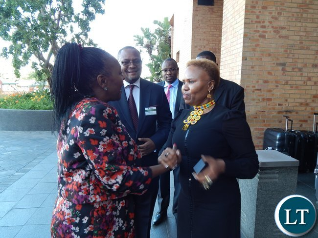 Zambia's Minister of Commerce, Trade and Industry, Mrs. Margaret Mwanakatwe and South Africa's Minister for Small Business Development, Lindiwe Zulu meet just before the launch of the Zambia-South Africa Business Council in Johannesburg