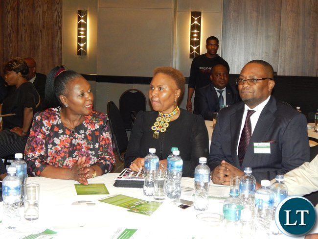 Mr. Emmanuel Mwamba, South Africa's Minister for Small Business Development, Lindiwe Zulu and Zambia's Minister of Commerce, Trade and Industry, Mrs. Margaret Mwanakatwe at the launch of the Zambia-South Africa Business Council in Johannesburg