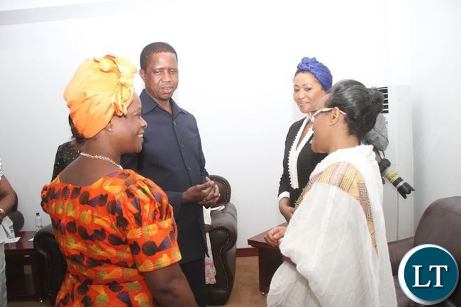 President Lungu with First Lady Esther Lungu, South Africa First Lady Tobeka Zuma and Ethiopia First Lady Roman during  opening of the  First African Girl Summit  on Ending Child Marriage in  Africa at Government complex in Lusaka on Thursday, November 26,2015 -Pictures by THOMAS NSAMA