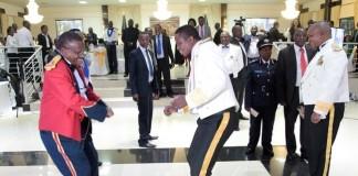President Edgar Lungu (c) on the floor during ZAF Annual Ball at ZAF Chambwa Mass