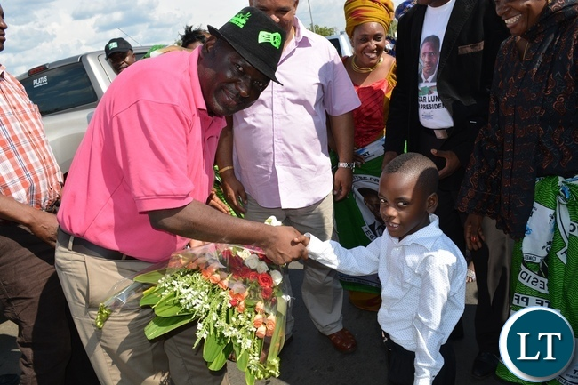 Davies Chama being welcomed at a PF mobilization event