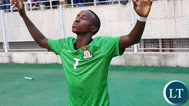 Conlyde Luchanga celebrating after scoring his debut goal  in Chipolopolo colours
