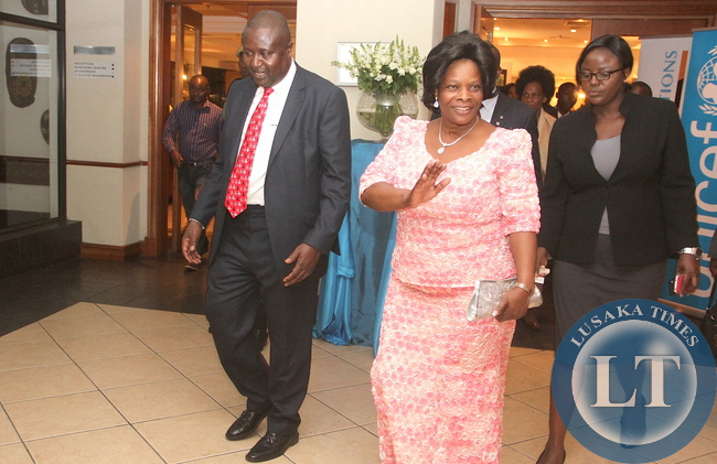 First Lady Esther Lungu being seen-off by UNICEF Country representative Hamid El-Bashir Ibrahim after she officiated at 69th Anniversary celebrations of UNICEF at Pamodzi Hotel in Lusaka on Thursday evening, December 10,2015 -Picture by THOMAS NSAMA