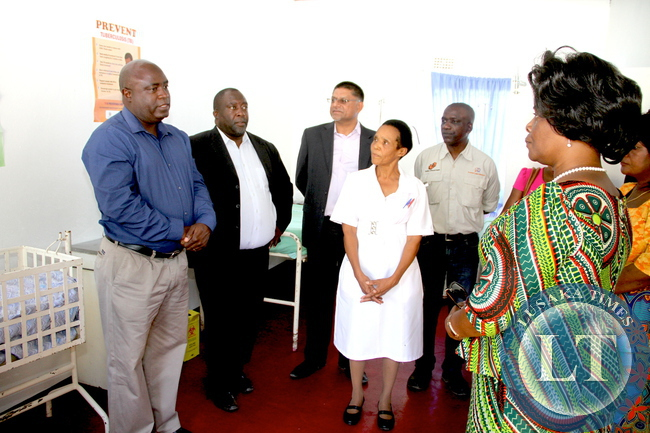 First Lady tours Simulala Health Post on Tuesday, December 8,2015. The First Lady was in Chingola where she checked and witnessed various projects that are being undertaken by various stakeholders and those that are undertaken by Konkola Copper Mine (KCM) under Corporate Social responsibility -Picture by THOMAS NSAMA
