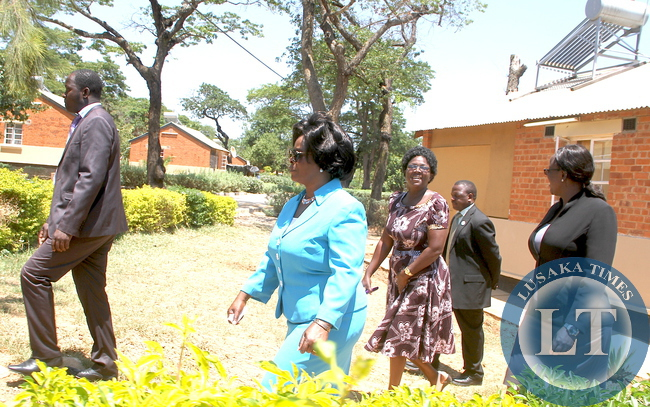 First Lady Esther Lungu took time off her busy schedules and visited families of State House staff. The First Lady wanted to see how members of staff and their families are living in the Police Camp on Thursday, December 10,2015 -Picture by THOMAS NSAMA