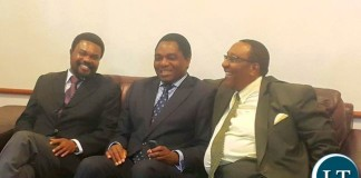 Canisius Banda (left) Hakainde Hichilema (center) Geoffrey Mwamba (right)