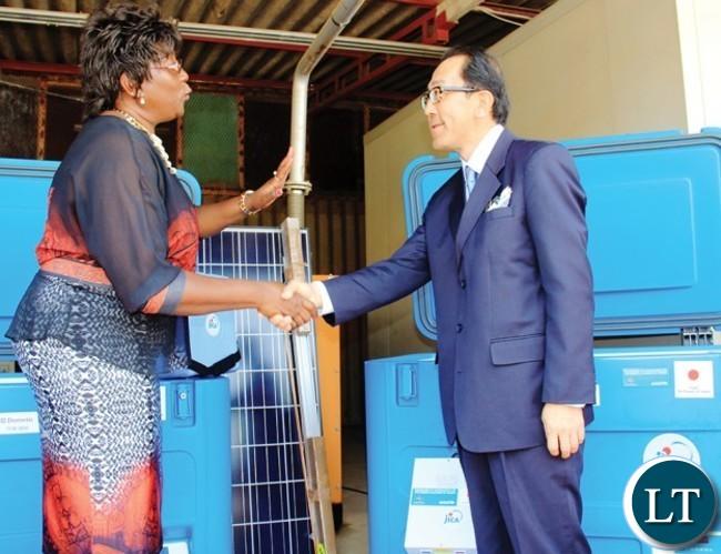 JAPANESE Ambassador-to Zambia Kiyoshi Koinuma with EMERINE KABANSHI