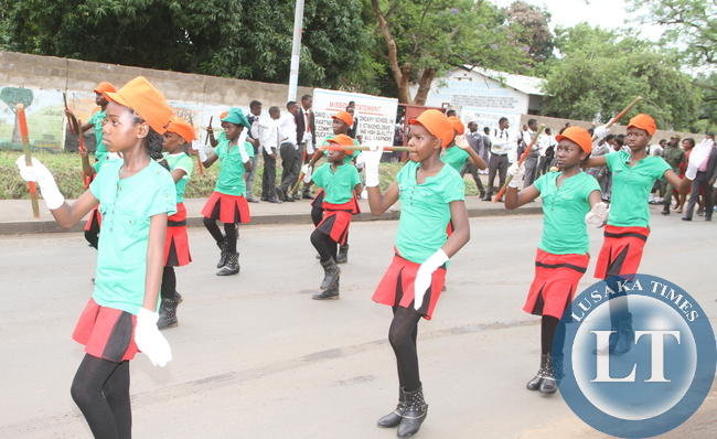 Majorrets during the World AIDS day Commemoration march past in Livingstone