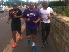 "Nevers Mumba jogging in the street of Cape Town South Africa. According to him, ""Best exercise to expel teargas from the chest!"""