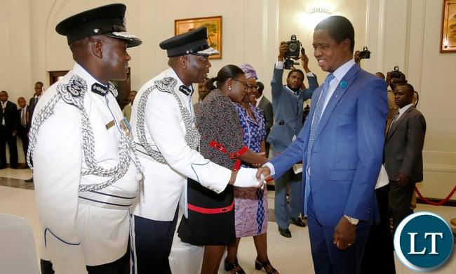 President Edgar Lungu Greets IG Kakoma Kanganja