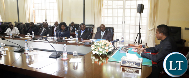President Edgar Lungu on thursday held Meeting with 15 Copperbelt Lamba- Lima Chiefs at State House they were lead by Senior Chief Chiwala and Senior Mushili- Picture by Eddie Mwanaleza/State house 24-12-2015.