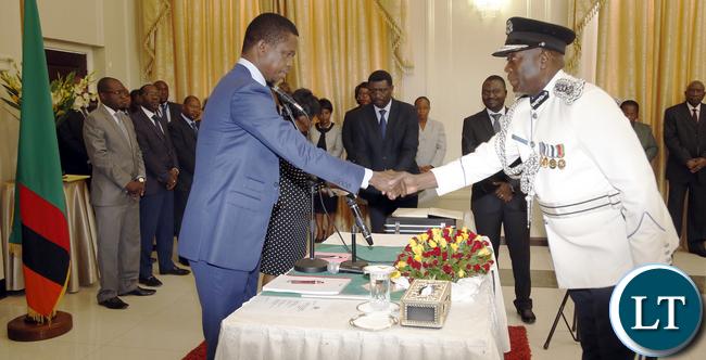 President Lungu Swearing New Police IG Kakoma Kanganja