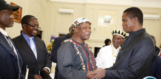 President Edgar Lungu chats with Chief Nkana at State House. 15 Lamba Lima Chiefs held meeting with the Head state,They were lead by Senior Chief Chiwala and Senior Mushili- Picture by Eddie Mwanaleza/State house 24-12-2015.