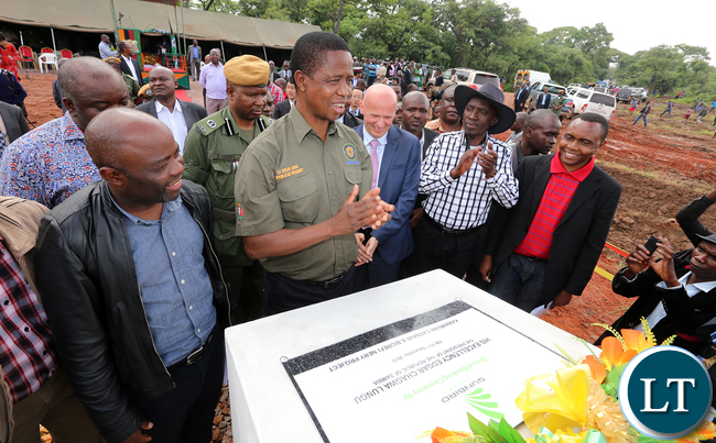 President Edgar Lungu with Mr Richard Bennett CEO SunBird Bioenegry Africa during the ground breaking ceremony at Kawambwa Cassava farm and biorefinery plant which will Produce Bioethonol (biofuel)- PICTURE BY EDDIE MWANALEZA/ STATEHOUSE.16-12-2015