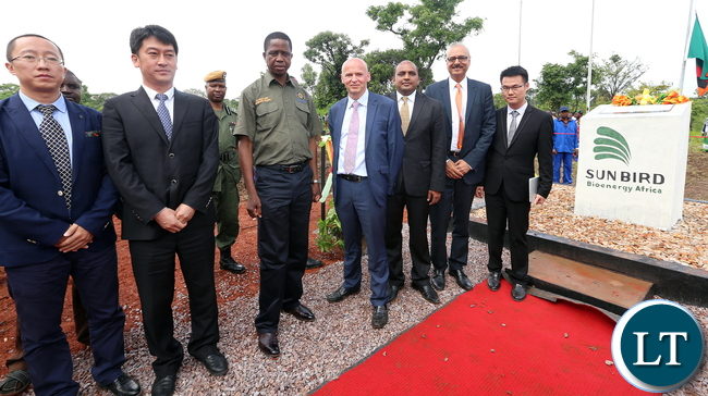 President Edgar Lungu with Mr Richard Bennett CEO SunBird Bioenegry Africa and other Officials at Kawambwa Cassava farm and biorefinery plant which will Produce Bioethonol (biofuel)- PICTURE BY EDDIE MWANALEZA/ STATEHOUSE.16-12-2015