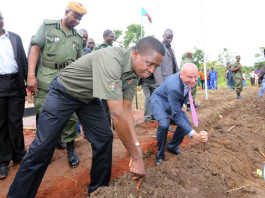 President Edgar Lungu with Mr Richard Bennett CEO SunBird Bioenegry Africa plants Cassava Cutting at Kawambwa Cassava farm and biorefinery plant which will Produce Bioethonol (biofuel)- PICTURE BY EDDIE MWANALEZA/ STATEHOUSE.16-12-2015