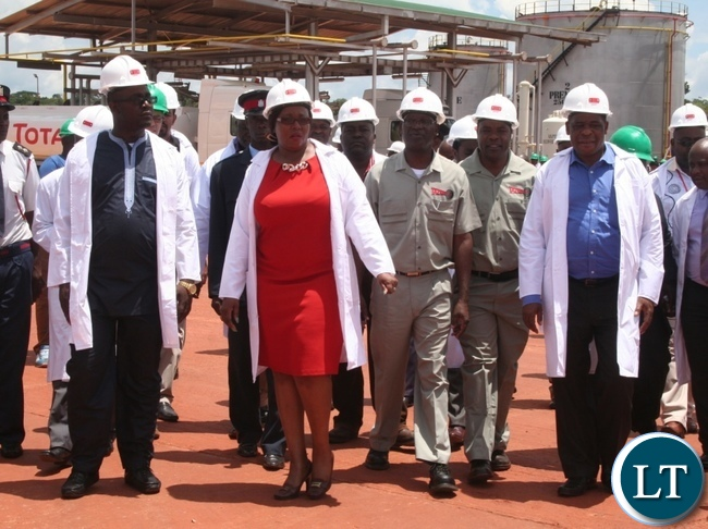 Siliya with Kafwaya Tazara  MD and Energy director during the tour of Solwezi fuel depot