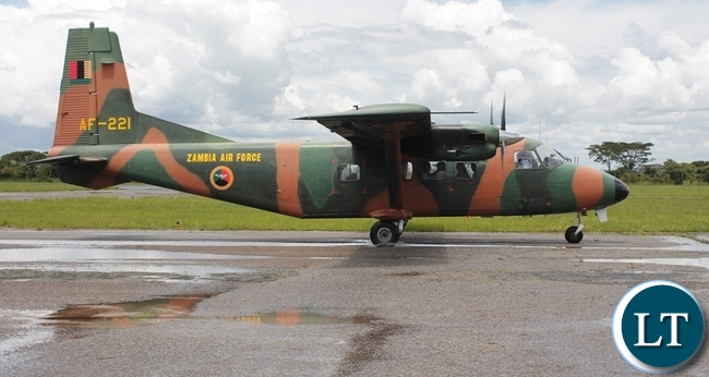 Zambia Air Force plane carrying the body of the late Chief Fwambo of the Mambwe people touches land at Samora Machel Airbase in Mbala from Lusaka
