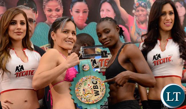 Catherine Phiri at the weigh in with WBC Female Bantamweight Champion Yazmin Rivas