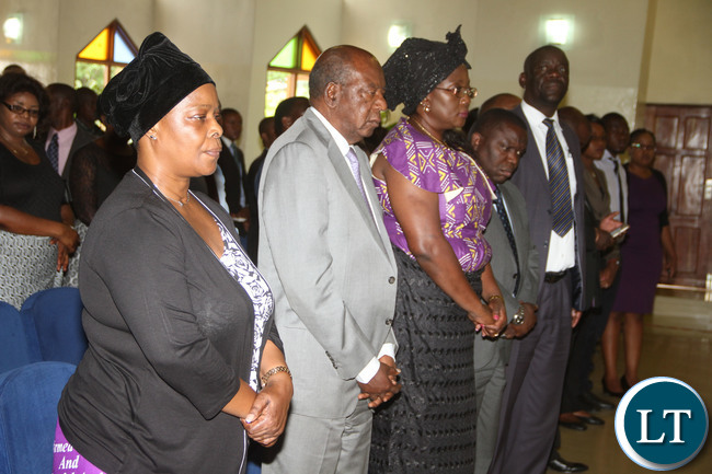 First Lady Esther Lungu  during the funeral service of Luapula province minister Brig Gen Benson Kapaya's daughter Mumba at St Andrews  UCZ Church in Lusaka on  Wednesday, January 13,2016 -Picture by THOMAS NSAMA