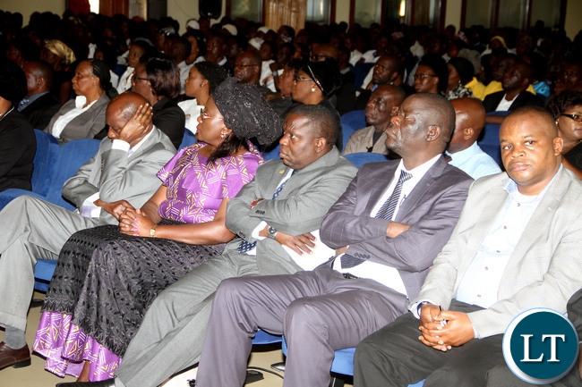 First Lady Esther Lungu with Ministers and Zambia Airforce Commander Lt Gen Chimese during the funeral service at St Andrews  UCZ Church in Lusaka on  Wednesday, January 13,2016 -Picture by THOMAS NSAMA