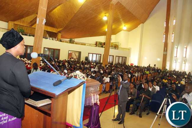 First Lady Esther Lungu  speaks during the funeral service of Luapula Province Minister Benson Kapaya's daughter Mumba at St Andrews  UCZ Church in Lusaka on  Wednesday, January 13,2016 -Picture by THOMAS NSAMA