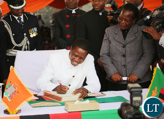 Zambia President Edgar Chagwa Lungu signed a new Constitution at the Lusaka Heroes Stadium