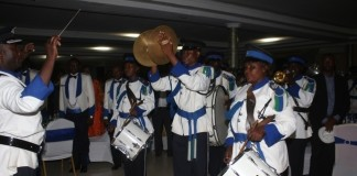 Zambia Police Brass band during the performance.