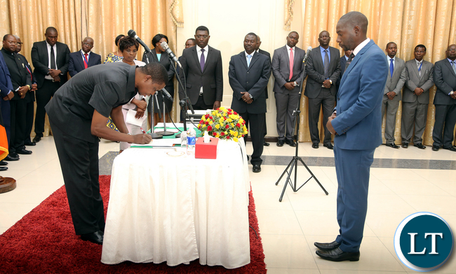 President Edgar Lungu during the Swearing in of Mr Chikula Chinyanta Public Policy Spcialist at Cabinet office at Statehouse Ceremony on Thursady 7th January 2016. Picture by Eddie Mwanaleza/Statehouse.