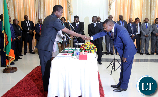 President Edgar Lungu swears  in Mr Derrick Mulenga deputy  Chairperson Industrial  relations Court After  at Statehouse  Ceremony on Thursady 7th January 2016. Picture by Eddie Mwanaleza/Statehouse