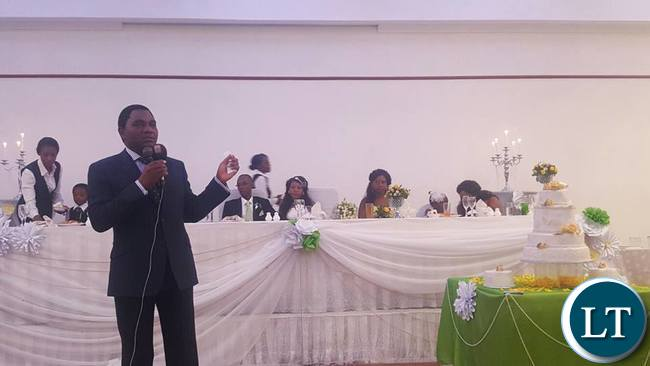 Mr Hichilema speaking at the wedding ceremony