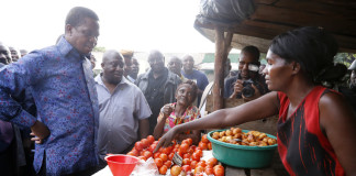 President Edgar Chagwa Lungu buys Tradition vegetables at Baluba Road Side Market on Ndola - Kitwe Due High Waythe First Family stopped over to Meet Traders and Exchanges Views 16-01-2016, PICTURE BY EDDIE MWANALEZA/STATEHOUSE
