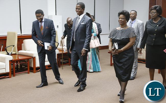 President Edgar Lungu with First Lady and Bishop Joshua Banda