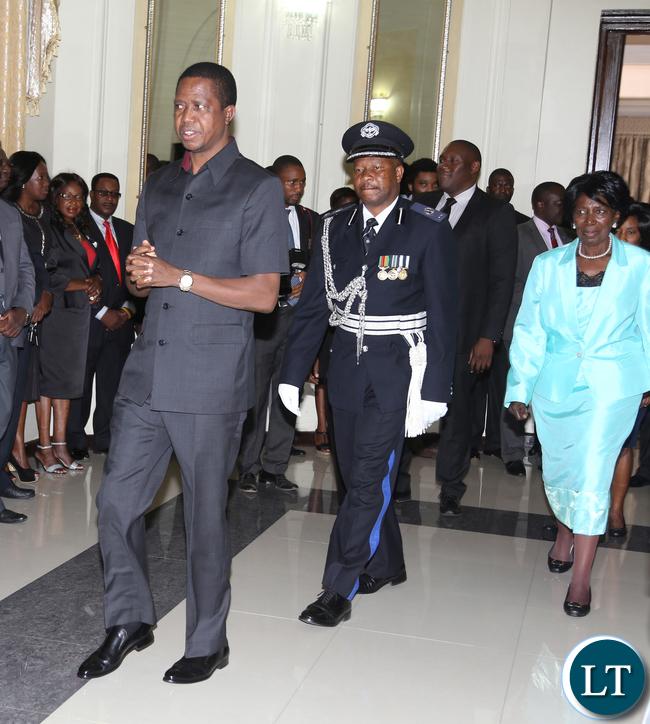 President Edgar Lungu with Mrs Inonge Wina  at Statehouse  in Ceremony on Thursady 7th January 2016. Picture by Eddie Mwanaleza/Statehouse.