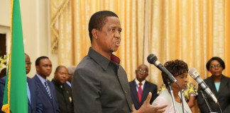 President Edgar Lungu speaking at Statehouse swearing in Ceremony on Thursady 7th January 2016. Picture by Eddie Mwanaleza/Statehouse.
