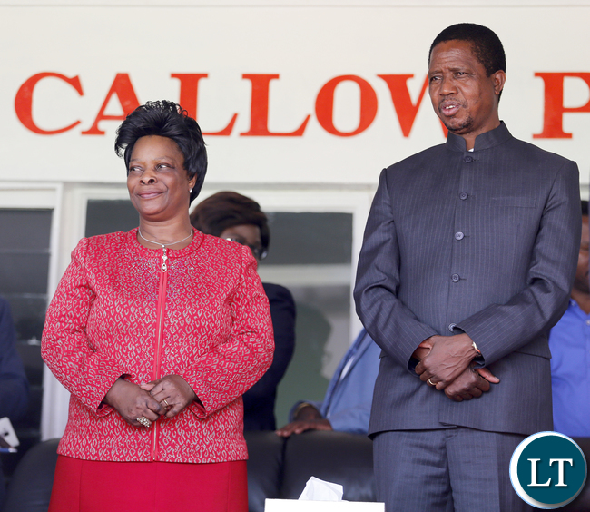 President Edgar Lungu with First Lady Mrs Esther Lungu at Golden Jubillee Celebration closing Worship at Nkana Stadium in Kitwe. The United Church of Zambia celebrated 50 years of existence with a series of events, the Synod Bishop, the Synod General Secretary and the clergy and church members from the various presbyteries, consistories and congregations._ PICTURE BY EDDIE MWANALEZA/STATEHOUSE17-1-2016.
