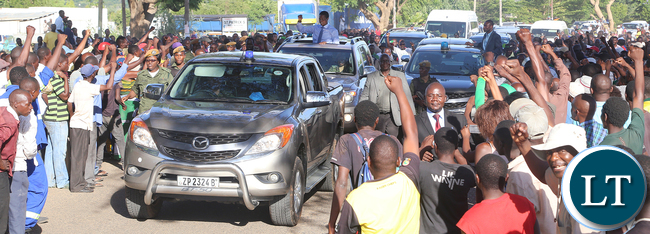 President Lungu arrive in Mazabuka town