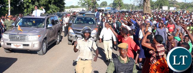 President Lungu arrive in mazabuka