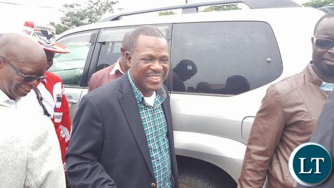 RAINBOW Party leader Wynter Kabimba leaving the Courtyard Hotel in Lusaka after a joint press conference by various opposition Political Parties among them Rainbow Party,UPND, ADD, Peoples Party, Green Party, UPP and NDP.