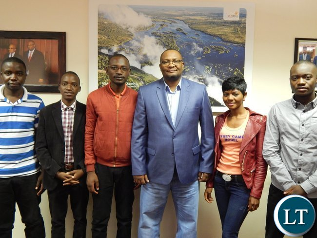 Zambia's High Commissioner to S. Africa, His Excellency Mr. Emmanuel Mwamba with the five nominees in his office in Pretoria