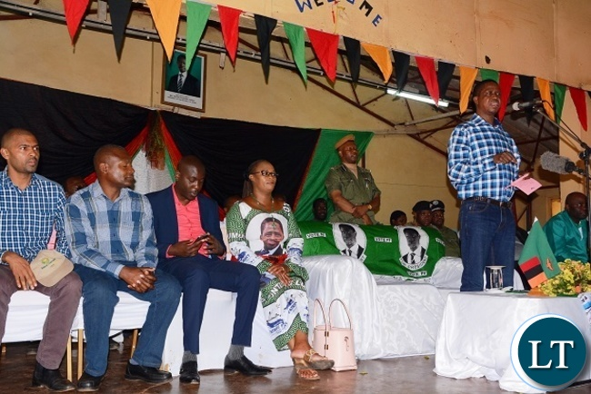 PRESIDENT Edgar Lungu addressing Petauke residents today