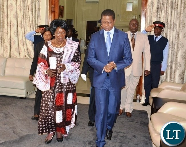 President Edgar Lungu and his Vice President Inonge Wina at State House yesterday 02-02-2016.Picture by ROYD SIBAJENE/ZANIS