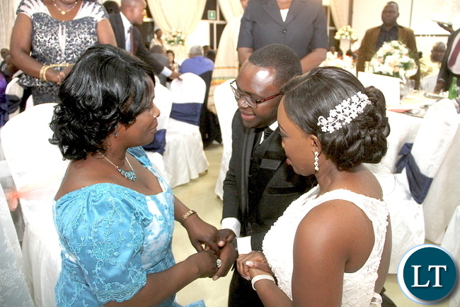 First Lady at Zambia Army Lt Gen Paul Mihova's son Kayombo and Lucy Kalimanshi –Mihova's Wedding