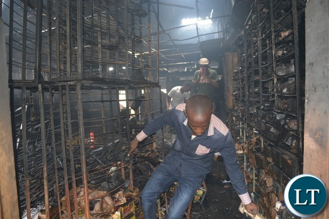 Some remains of Bata town centre outlet in Livingstone which caught fire