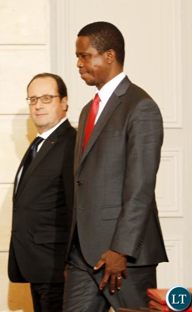 President Edgar Chagwa Lungu (right) with French President Francois Hollande at Elysee Palace in Paris, France on Monday,February 8,2016. PICTURE BY SALIM HENRY/STATE HOUSE ©2016.
