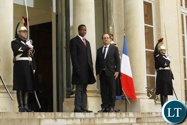 President Edgar Chagwa Lungu (left) with French President Francois Hollande at Elysee Palace in Paris, France on Monday,February 8,2016. PICTURE BY SALIM HENRY/STATE HOUSE ©2016.