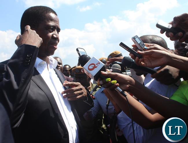 President Lungu Speaking to Journalists