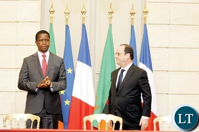 President Edgar Chagwa Lungu (left) with French President Francois Hollande