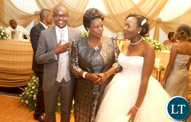 First Lady at the wedding ceremony of Masuzgo Kaunda Junior (grandson son of Dr Kenneth Kaunda) and Makomba Silwamba (daughter of Eric Silwamba) at InterContinental Hotel in Lusaka