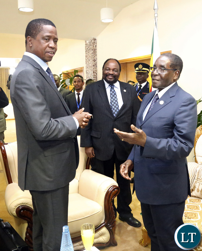 President Edgar Lungu with President of Zimbabwe Mr Robert Mugabe at Bole international airport in Ethiopia after th AU Summit Which Ended on Sunday 31-1-2016PICTURE BY EDDIE MWANALEZA/STATEHOUSE.